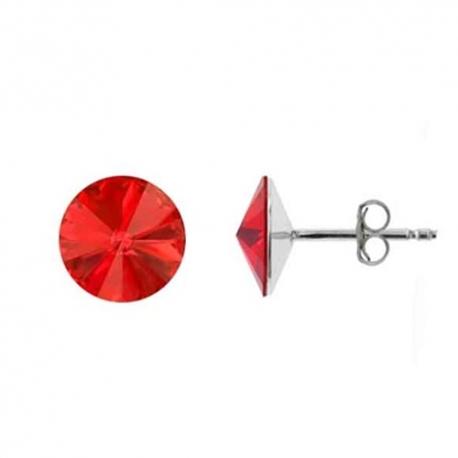 Náušnice Swarovski elements Rivoli 8 mm červené LIGHT SIAM – napichovačky