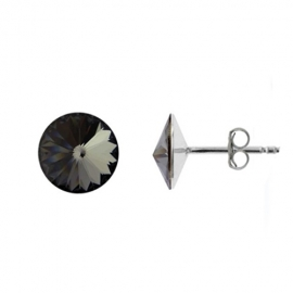 Náušnice Swarovski elements Rivoli 8 mm čierne SILVER NIGHT – napichovačky
