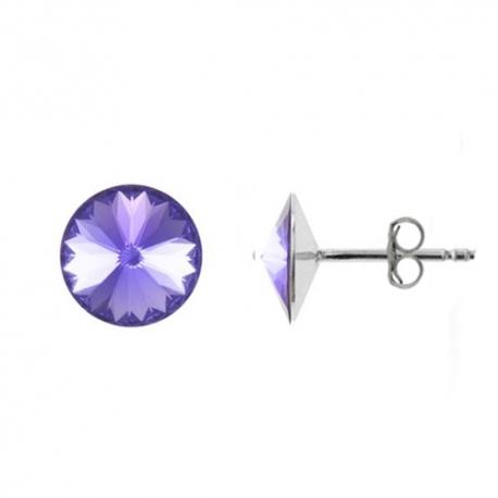 Náušnice Swarovski elements Rivoli 8 mm fialové TANZANITE – napichovačky