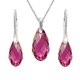 Set  Swarovski elements Briolet fialový FUCHSIA 13mm
