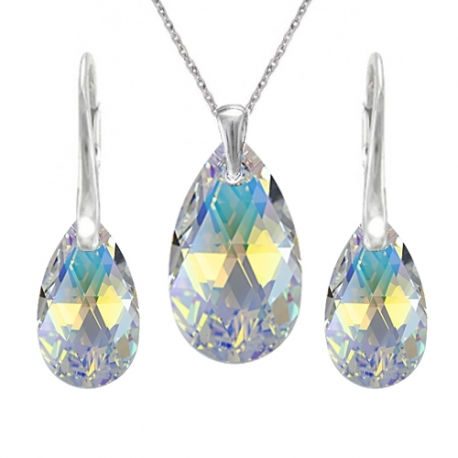 Set Swarovski elements hruška dúhovy CRYSTAL AB 16m