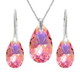 Set  Swarovski elements hruška ružový LIGHT ROSE AB 16mm