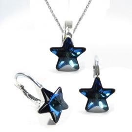 Set Swarovski elements hviezdy 10 mm modrý Bermuda Blue