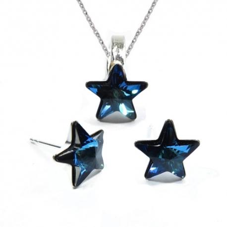 Set Swarovski elements hviezdy 10 mm modrý Bermuda Blue – napichovačky