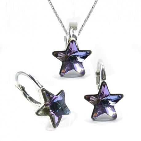 Set Swarovski elements hviezdy 10 mm fialový Crystal Vitrail Light