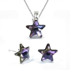 Set Swarovski elements hviezdy 10 mm fialový Crystal Vitrail Light – napichovačky