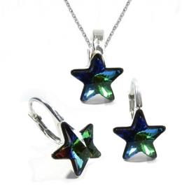 Set Swarovski elements hviezdy 10 mm zelený Crystal Vitrail medium