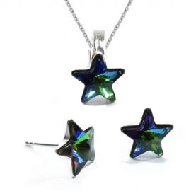 Set Swarovski elements hviezdy 10 mm zelený Crystal Vitrail Medium – napichovačky