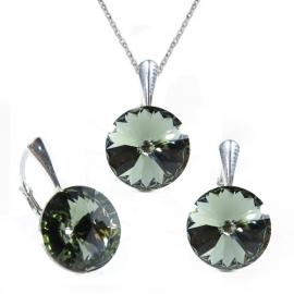 Set Swarovski elements Rivoli 12 mm čierny  BLACK DIAMOND