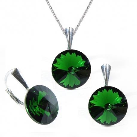 Set Swarovski elements Rivoli 12 mm zelený DARK MOSS GREEN