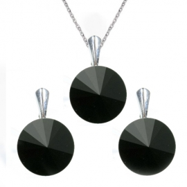 Set  Swarovski elements Rivoli 12 mm čierny JET