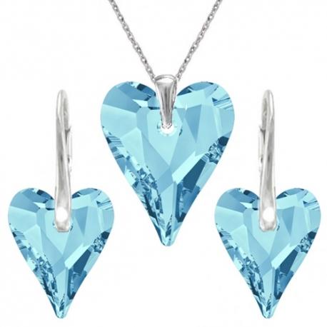 Set Swarovski elements srdce CRAZY modrý AQUAMARINE 12mm