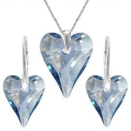 Set srdce swarovski CRAZY – BLUE SHADE