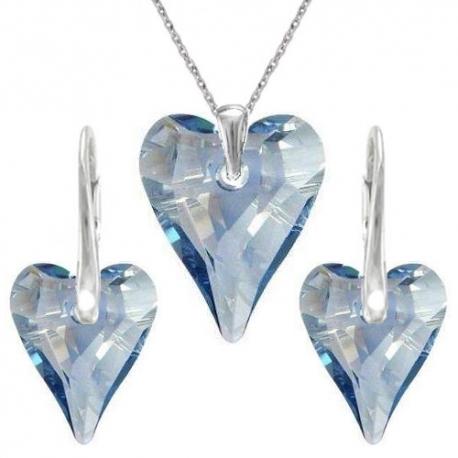 Set Swarovski elements srdce CRAZY modrý BLUE SHADE 12mm