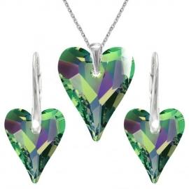 Set Swarovski elements srdce zelený CRYSTAL Vitrail medium 17mm