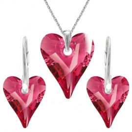 Set srdce swarovski elements CRAZY ružový ROSE AB 12mm
