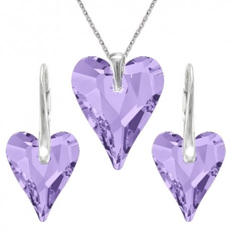 Set srdce swarovski elements CRAZY fialový TANZANITE 12mm