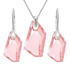 Set Swarovski elements šperkov De-Art ružový LIGHT ROSE 18mm