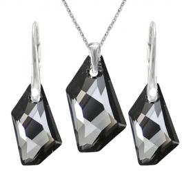 Set šperkov Swarovski elements De-Art čierny SILVER NIGHT 18mm