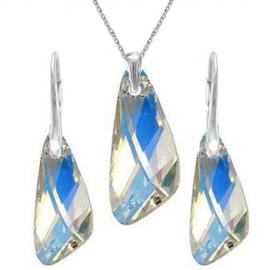 Set šperkov  Swarovski elements v tvare krídla dúhový CRYSTAL AB 23mm