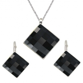 Set Swarovski elements štvorec čierny JET 10mm