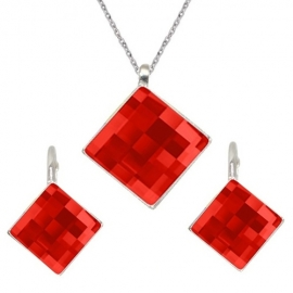 Set Swarovski elements štvorec červený LIGHT SIAM 10mm