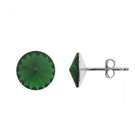 Náušnice Swarovski elements Rivoli 8 mm zelené DARK MOSS GREEN