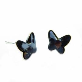 Náušnice Swarovski elements motýliky 10 mm čierne SILVERNIGHT – napichovačky