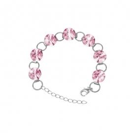 Náramok Swarovski elements 10mm rivoli ružový– Light Rose
