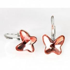 Náušnice Swarovski elements motýliky 10 mm ružové ANTIQPINK