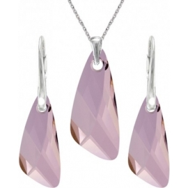Set šperkov  Swarovski elements v tvare krídla ružový ANTIQPINK 23mm
