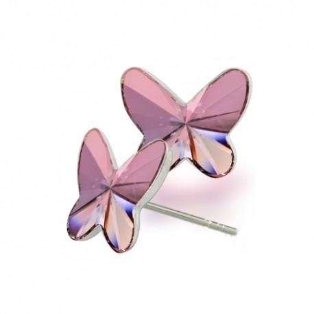 Náušnice motýliky 12 mm – farba ANTIQPINK – napichovačky