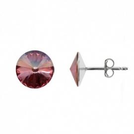 Náušnice Swarovski elements Rivoli 10 mm ružové ANTIQPINK – napichovačky