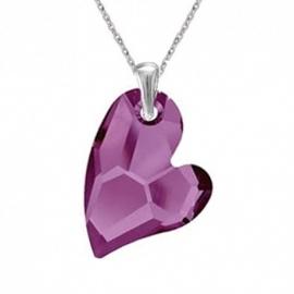 Prívesok Swarovski elements srdce Devoted2U fialový  AMETHYST 27mm