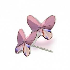Náušnice Swarovski elements motýliky 10 mm ružové ANTIQPINK – napichovačky