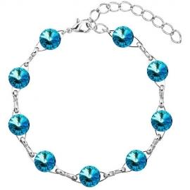 Náramok S Swarovski elements 10mm rivoli modrý – Bermuda Blue