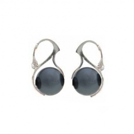 Náušnice perly Swarovski 12 mm tmavé