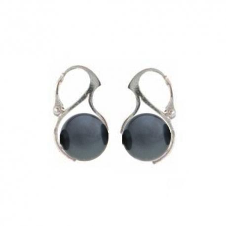 Náušnice perly Swarovski elements 12 mm tmavé