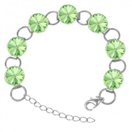 Strieborný náramok  Swarovski elements 12mm rivoli zelený– CHRYSOLITE