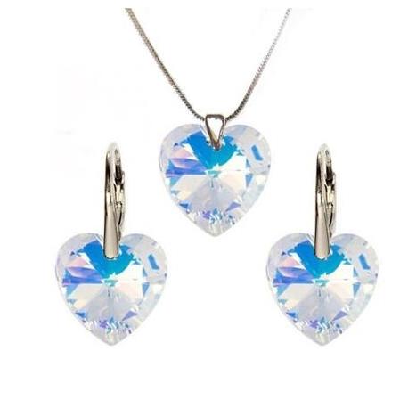 Rhódiovaný set srdce zo Swarovski kryštálov 14mm Crystal AB
