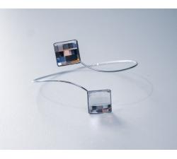 Rhodiovaný náramok so Swarovski kryštálmi Chessboard farba Crystal