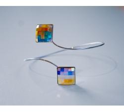 Rhodiovaný náramok so Swarovski kryštálmi Chessboard farba Crystal AB