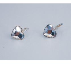 Náušnice srdce swarovski elements číre Crystal 10mm