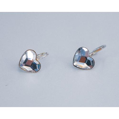 strieborne nausnice srdiecka crystal