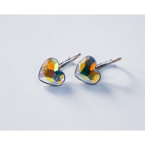 Náušnice srdce Swarovski elements dúhové Crystal AB 10mm