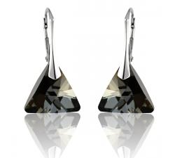 Strieborné náušnice Triangle - Swarovski elements čierne Silver Night 12mm