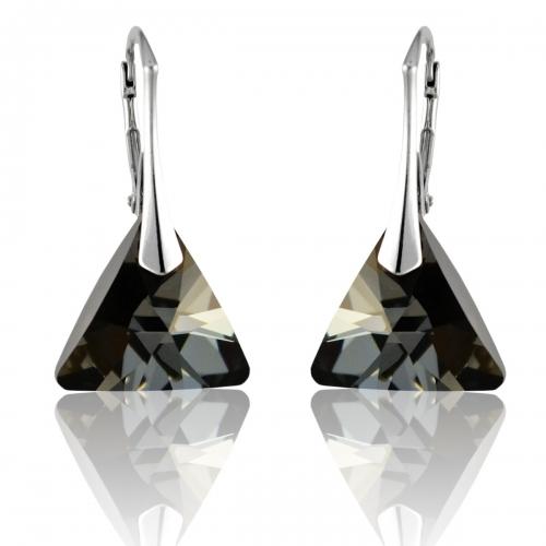 Strieborné náušnice Triangle - Swarovski elements farba Silver Night