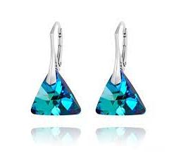 Strieborné náušnice Triangle - Swarovski elements farba Bermuda blue