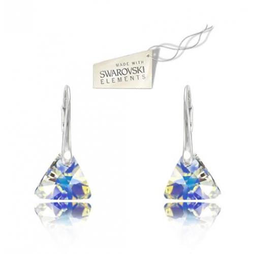 Strieborné náušnice Triangle - Swarovski elements farba Sbermuda blue