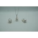 Strieborná perlová súprava 10mm krémová
